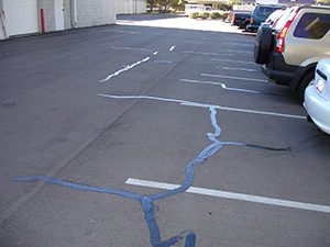 Crack sealing in a parking lot