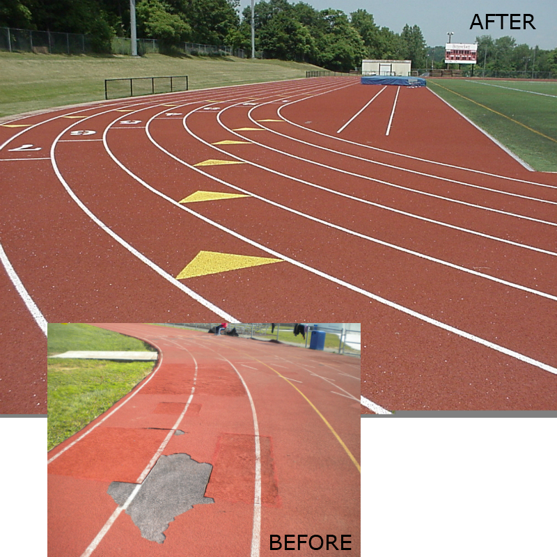Running track repair before and after