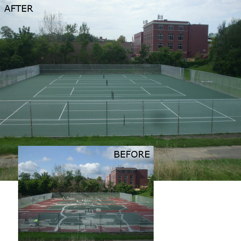 Tennis court repair before and after